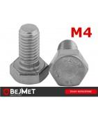 BEJMET Śruby nierdzewne sześciokątne DIN 933 A2 M4 INOX bejmet.com.pl/sklep